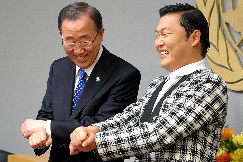 """The United Nations Secretary General Ban Ki-Moon learning to dance """"Gangnam Style"""" by Psy, Korean pop artist.  """"I'm a bit jealous,"""" Mr Ban said. """"Until two days ago someone told me I am the most famous Korean in the world. Now I have to relinquish. Said Secretary General Ban Ki-Moon.  Photo:  Times"""
