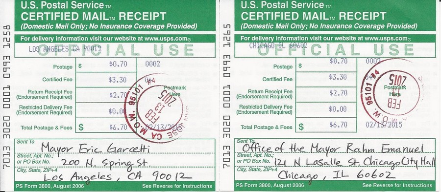 Certified mail receipts for Busan's Sister Cities