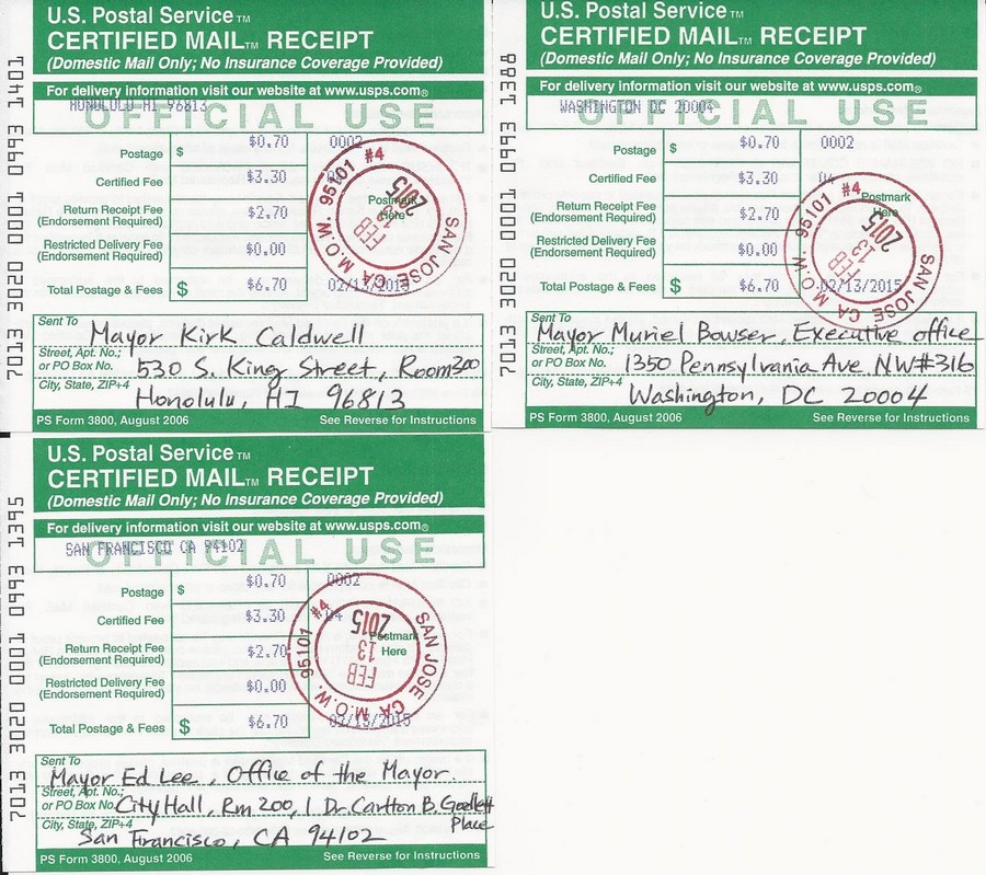 Certified mail receipts for Seoul's Sister Cities