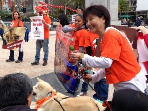 Andrea, Ambassador dog Komi and the  supporters featuring Event poster.
