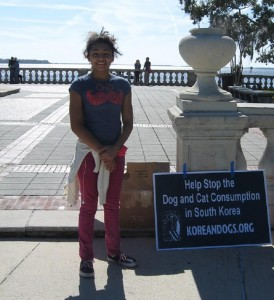 I was very encouraged by the group of young people who gratefully accepted the promotional items and were sincerely interested in doing whatever they could to stop the cruelty. Amiyah helped me pass out leaflets and items. She is a very wise and compassionate young person. We need more people like Amiyah!