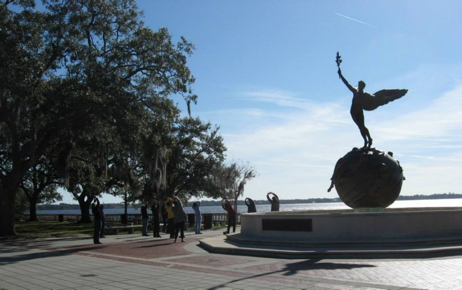 There was a Saturday morning yoga group at Memorial Park on the St. Johns River. My brother and I floated our toy boats in that fountain when we were children long ago. The City of Jacksonville recently drained it because homeless people were bathing in it.