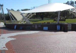 We set up our signs and free promotional items behind the Capital City Amphitheatre.