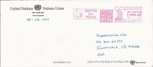 UN Response envelope for letter to UN SG Ban Ki-Moon