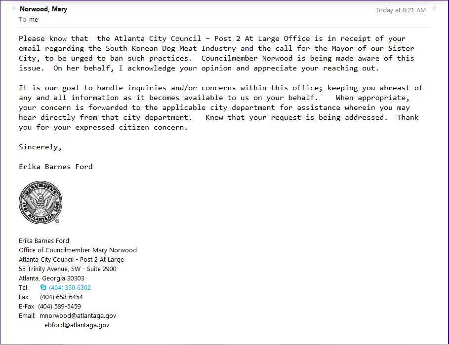 Response from Atlanta Council Mary Norwood