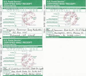 Gyeonggido Sister State Campaign_Certified Mail receipts