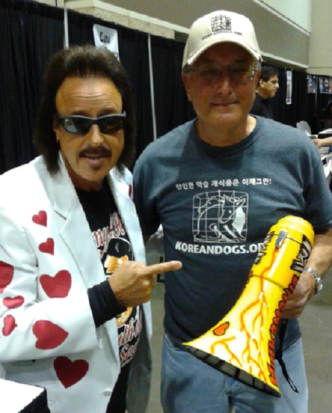 "I also met Jimmy Hart, ""The Mouth of The South"", the world's greatest wrestling manager at MegaCon.  He let me hold his famous megaphone for the photo.   Jimmy is a great guy, very personable and friendly.  He loves his fans and we love him too."