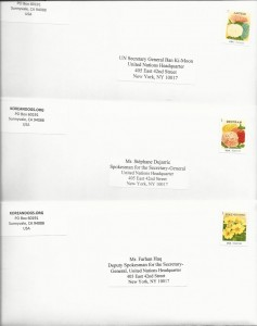 Letters sent to United Nations Secretary General Ban Ki-Moon on May 15, 2015.