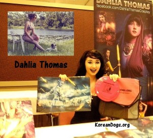 Dahlia Thomas is gorgeous and talented. She is a dog lover. Dahlia has sensational autographed photos at extremely reasonable prices. It was a thrill to meet both Dahlia and Jenifer Ann at Ancient CityCon in Jacksonville, Florida on 7-19-15.. www.facebook.com/DahliaThomasCosplay