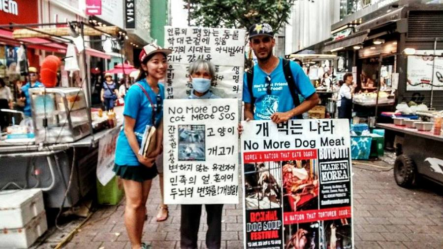Anri and Ahsan with Grandma Activist in Myeongdong, South Korea.