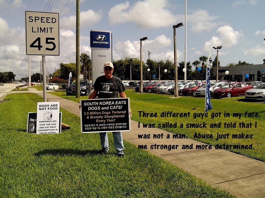 Four men came out from the dealership and confronted me. The Hyundai manager called me a smuck and told me I was not a man. I was a U.S. Army military policeman during the Vietnam War. I earned my right to demonstrate on public property. Despite his hostility, the manager offered to help but in a different way, but he provided no details. I decided to relocate the demonstration a few blocks north because I would rather have an ally than an enemy. I haven't heard back from the manager yet.