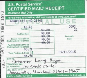 Petition to MD Gov_091115 Certified Mail Receipt