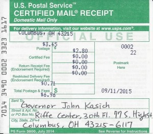 Petition to Ohio Governor_091115_Certified Mail Receipt