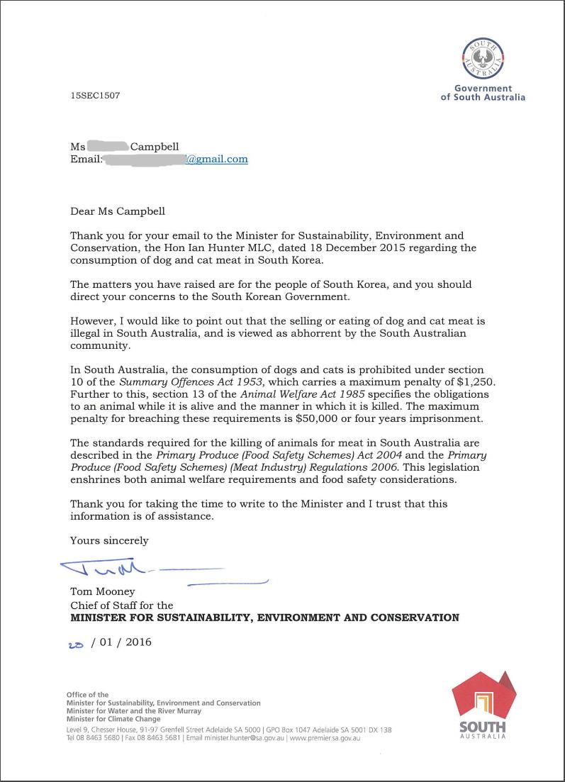 Correspondence from South Australia Gov't_012016