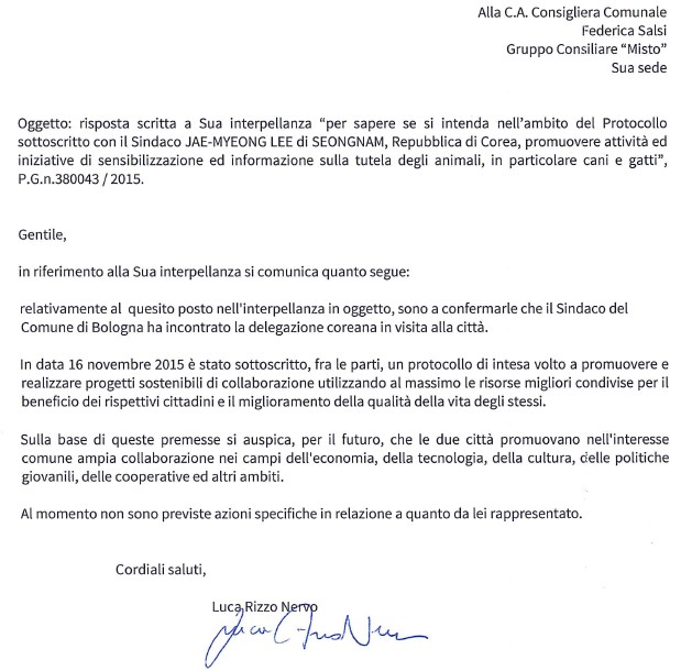 Response from City of Bologna