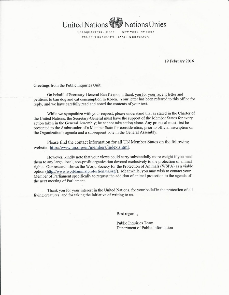 Response from UN HQ_021916