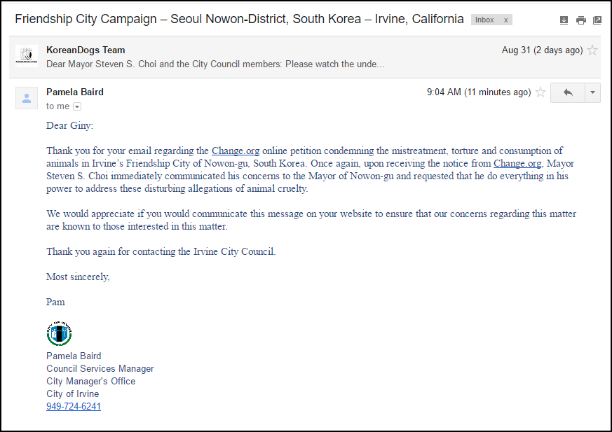 Response from City of Irvine_090216_Nowon Seoul