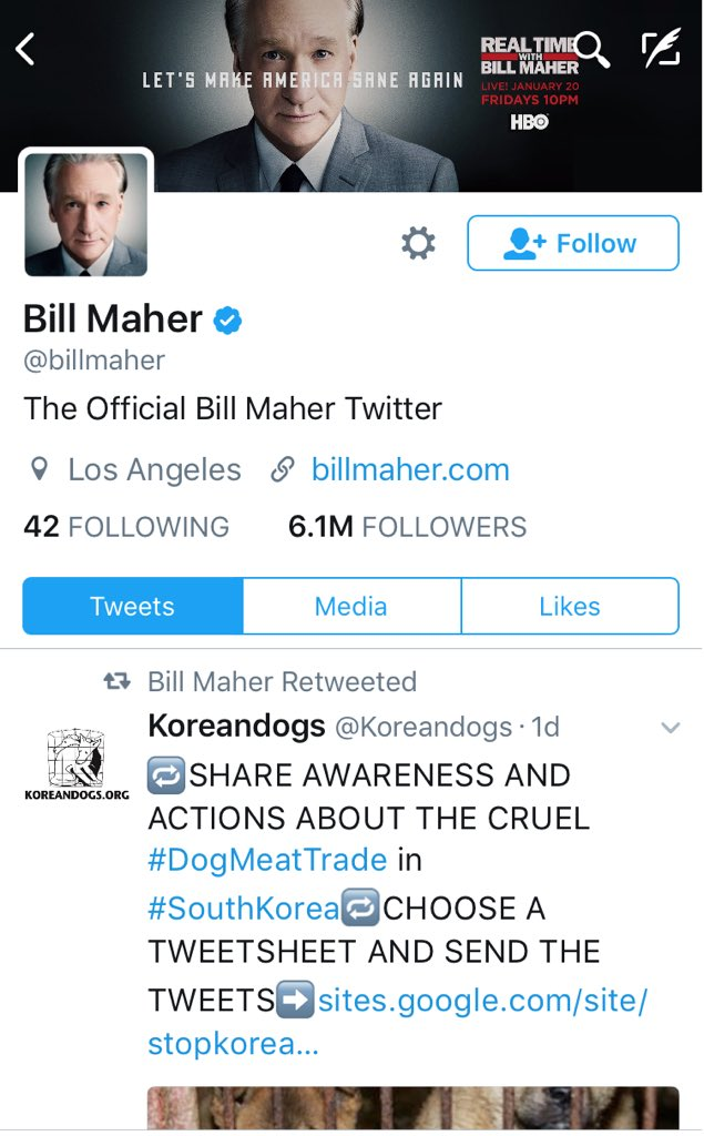 Bill Maher Retweet KoreanDogs.org 010717