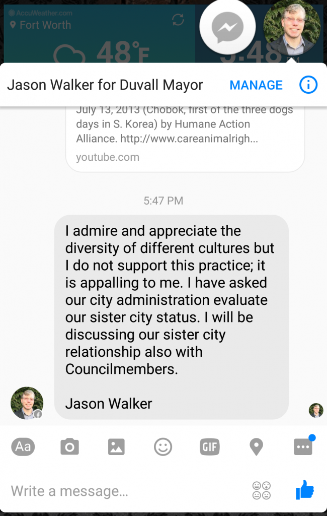 Response from Duvall Council Member Jason Walker 031217