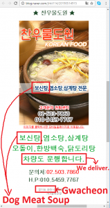 Dog Meat Soup Restaurant in Gwacheon