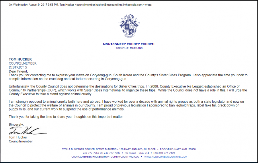 Response from Montgomery County Councilmember Tom Hucker 080917