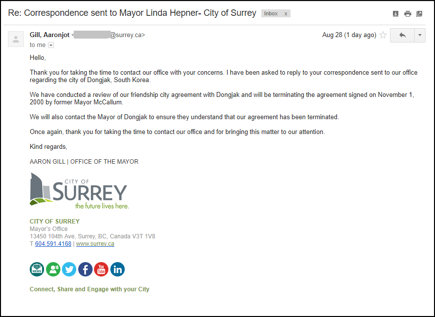 Response from Surrey 082817