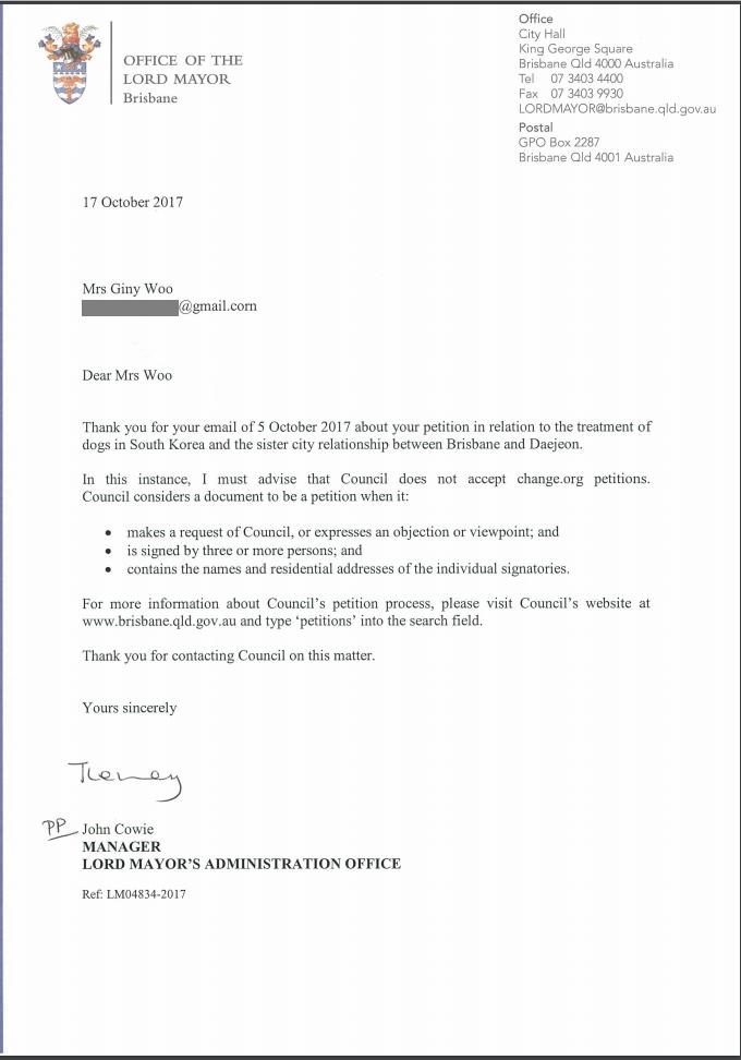Response from Brisbane Mayor 101717