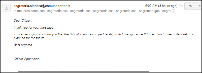 Response from Turin Mayor 092817